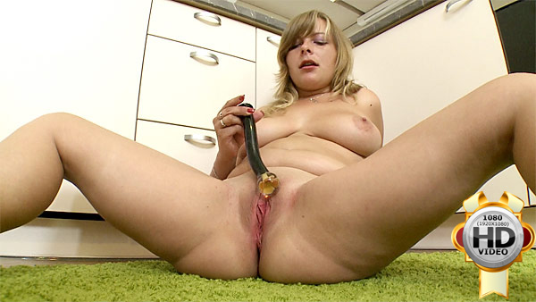 Blonde chubby plays with sex toy